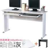 Homelike 格雷140x40工作桌 亮面烤漆(附二鍵) 白桌面/灰腳
