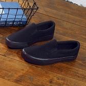 新款簡約工作鞋純黑帆布鞋防滑套腳懶人鞋百搭休閒韓版學生鞋 快速出貨