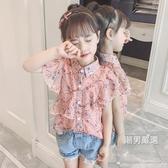 短袖襯衫童裝夏裝2018新品女童短袖襯衫女孩洋氣雪紡上衣兒童夏季時髦襯衣