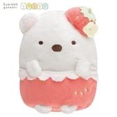日本限定 SAN-X 角落生物 白熊 草莓版 玩偶娃娃 14cm