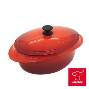 【MULTEE摩堤】32cm鑄鐵橢圓鍋-漸層紅