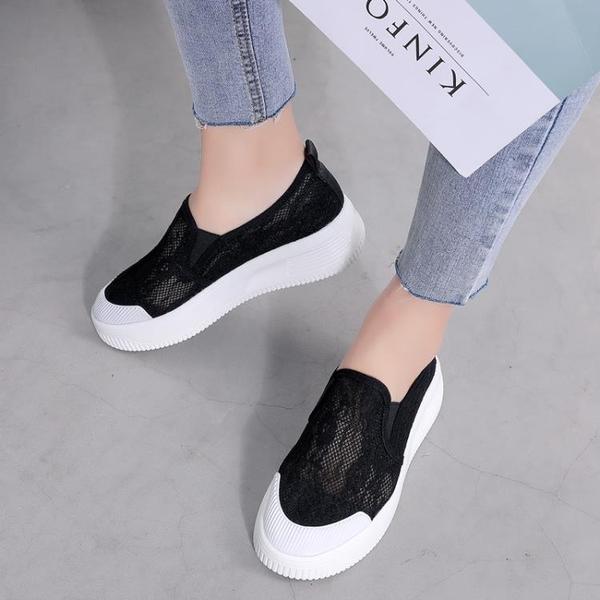 樂福鞋 一腳蹬漁夫鞋女夏季厚底網面透氣平底樂福鞋媽媽布鞋小白-Ballet朵朵