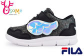 FILA 運動鞋 童鞋 天使翅膀  輕量 魔鬼氈 慢跑鞋M7635#黑◆OSOME奧森童鞋/小朋友