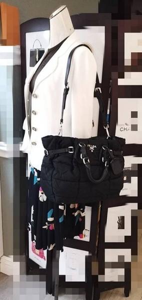 【雪曼國際精品】PRADA 經典帆布手提高飛包~可斜/側背-兩用包─二手9成新