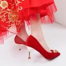 婚鞋女新款紅色婚紗新娘鞋中式