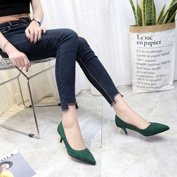 韓版春秋新款尖頭淺口絨面單鞋細跟5CM中跟女鞋墨綠色高跟鞋女