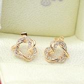 耳環 玫瑰金 925純銀鑲鑽-心心相印生日情人節禮物女飾品2色73gs117【時尚巴黎】