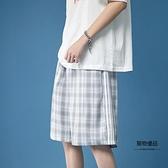 格子短褲女夏寬鬆直筒外穿運動五分褲高腰顯瘦設計感小眾五分褲子【聚物優品】
