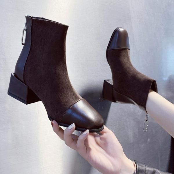 2021年春秋單靴粗跟短靴秋冬季新款百搭馬丁靴子瘦瘦襪小高跟女鞋 3C數位百貨