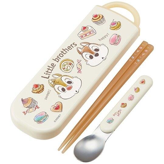 小禮堂 迪士尼 奇奇蒂蒂 日製 滑蓋兩件式餐具組 匙筷 兒童餐具 環保餐具 (米 甜點) 4973307-50912