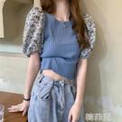 泡泡袖上衣 夏季女裝短袖上衣小心機設計感小眾法式泡泡袖藍色碎花襯衫 韓菲兒