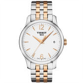 TISSOT天梭 Tradition 駿雅石英女錶-銀x雙色/33mm T0632102203701