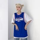 網紅港風ins短袖夏裝寬鬆2019新款cec球衣假兩件T恤女學生上衣潮 嬌糖小屋