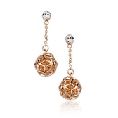 耳環 玫瑰金 925純銀鑲鑽-鏤空小球生日情人節禮物女飾品3色73gs126【時尚巴黎】
