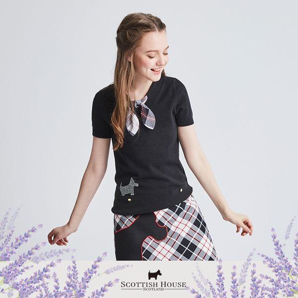 V領格布領結假口袋鑽狗上衣 Scottish House【AI1404】