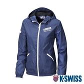 K-SWISS Solid Fleece Jacket刷毛防風外套-女-藍