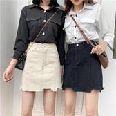 牛仔裙 大碼 夏2020新款韓版chic大碼高腰a字牛仔短裙女學生不規則包臀半身裙