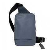 【COACH】經典LOGO素面男款中性單肩胸前包(灰藍)
