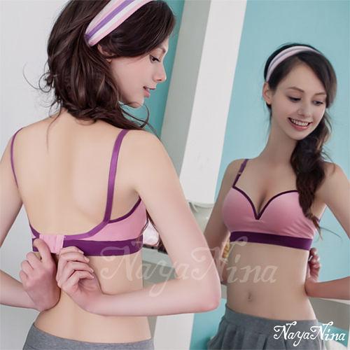 運動型內衣 【Naya Nina】深V三角提拉撞色無鋼圈運動內衣(粉紫配紫邊) 樂樂
