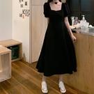 方領洋裝 赫本風黑色方領裙子女夏2021韓版大碼胖mm長裙收腰顯瘦初戀連身裙 寶貝 免運