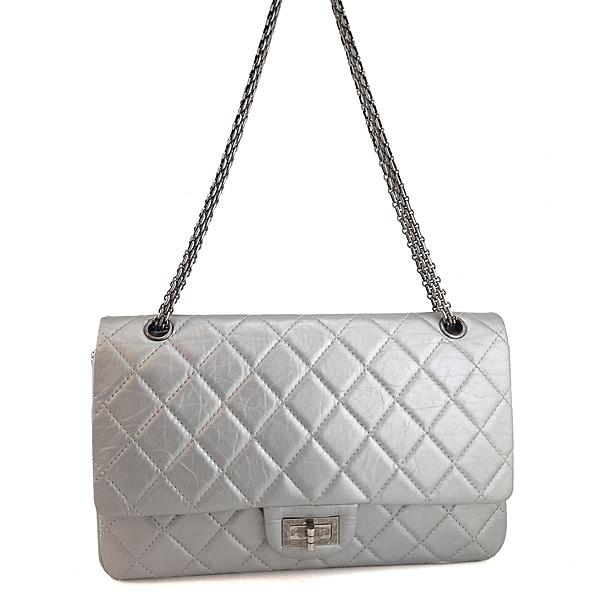 【奢華時尚】CHANEL 銀灰色羊皮銀鍊復刻2.55 CoCo包(八八成新)#24251