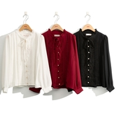 秋冬新品[H2O]復古綁帶蕾絲拼接雪紡襯衫 - 紅/黑/白色 #0635010