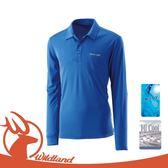 【Wildland 荒野 男 疏水紗POLO長袖上衣《海藍色》】0A21632/長袖/抗UV/彈性纖維/吸濕排汗/快乾休閒衣