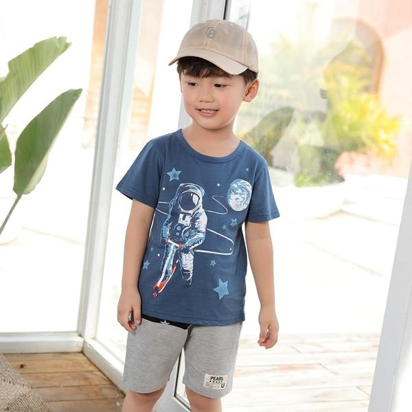 童趣宇宙人滑板車漫步短T 春夏童裝 男童棉T 男童上衣 男童短袖 男童T恤