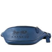美國正品 COACH 男款 荔枝紋壓印馬車LOGO拉鍊腰包-寶石藍【現貨】