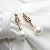 耳環 玫瑰金 925純銀鑲鑽-天使之翼生日情人節禮物女飾品2色73gs245【時尚巴黎】