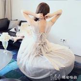 春季新款長裙後背蝴蝶結優雅公主風網紗吊帶超仙洋裝   瑪奇哈朵