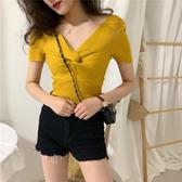 EASON SHOP(GW5996)韓版純色短版坑條紋胸口扭結大V領短袖針織衫T恤女上衣服彈力貼身內搭衫閨蜜裝