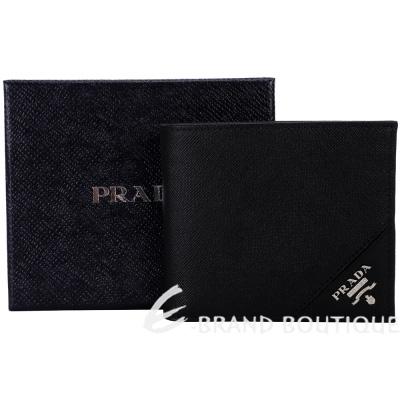 PRADA Saffiano 銀字浮刻防刮牛皮八卡對折短夾(黑色) 1210236-01