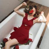 泳衣女連體保守荷葉邊性感露背bikini裙式韓國溫泉游泳裝-BB奇趣屋