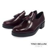 Tino Bellini 義大利進口臘感皮革雕花小流蘇樂福鞋 _ 酒紅 TF8503 歐洲進口款