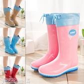 雨鞋 雨鞋女士春秋時尚純色中筒高筒防滑水靴成人防水鞋加絨可拆卸雨靴 小宅女