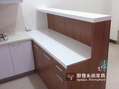 【系統家具】多功能LG人造石台雙層吧台櫃
