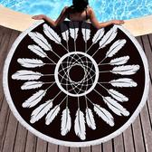 沙灘巾 幾何 彩繪 流蘇 野餐巾 海灘巾 圓形沙灘巾 150*150【YC003】 icoca  04/03