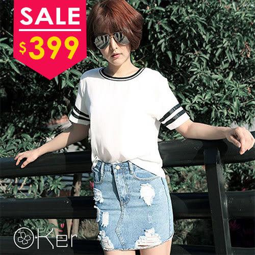 中大尺碼 O-Ker 韓淺色中大尺碼補丁修身牛仔裙【K3383】-C