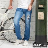 【JEEP】時尚百搭刷色牛仔長褲
