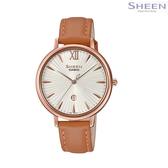 SHEEN 輕薄設計 簡潔俐落 獨立日期顯示窗 CASIO卡西歐 玫瑰金 咖啡色 女錶 SHE-4534PGL-7A