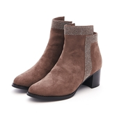 MICHELLE PARK 時尚優雅美型貼鑽拉鍊粗中跟短靴-深可灰