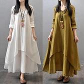 春夏新款大碼女裝亞麻裙復古文藝范民族風假兩件套棉麻打底連身裙 童趣