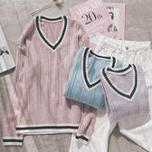 MUMU【N88314】粉色系V領學院風針織毛衣。三色