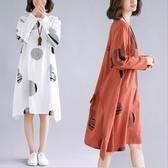 初心 原創洋裝 【D9966】 文藝 棉麻 長袖 圓圈圈 腰部 繫帶 洋裝 連身裙
