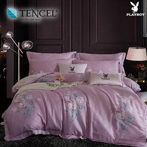【貝兒寢飾】PLAYBOY 60支萊賽爾天絲兩用被床包+刺繡抱枕五件組(雙人/清麗花