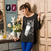 質感蝴蝶袖--莊嚴與神秘感貓頭鷹印圖蝴蝶袖設計長版上衣(黑.紅M-L)-X144眼圈熊中大尺碼
