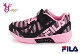 FILA 運動鞋 女童 反光系列 輕量慢跑鞋 O7639#黑粉◆OSOME奧森童鞋