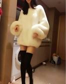 新款冬季氣質燈籠袖女仿兔毛加厚皮草衛衣女韓版中長款毛毛絨 城市科技