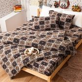 搖粒絨 / 雙人【直條花漾】床包兩用毯組  頂級搖粒絨  戀家小舖台灣製AAW215